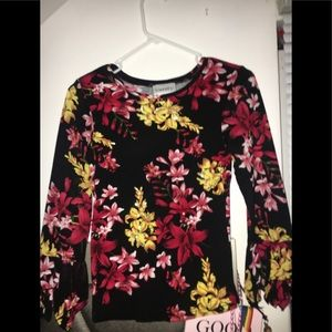 Floral long sleeve t-shirt W/ Beads & cool sleeves